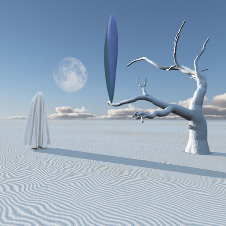 UFO in surreal white desert. Human figure covered by cloth