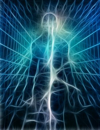 Surrealismus. Glänzende Energie in der menschlichen Silhouette.
