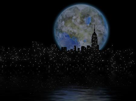 3D rendering. Terraformed moon over night city. Stock Photo