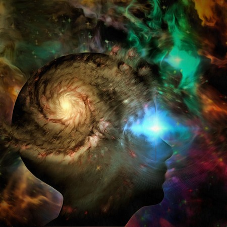 Surreale Malerei. Lebendiges Universum im Kopf der Frau.