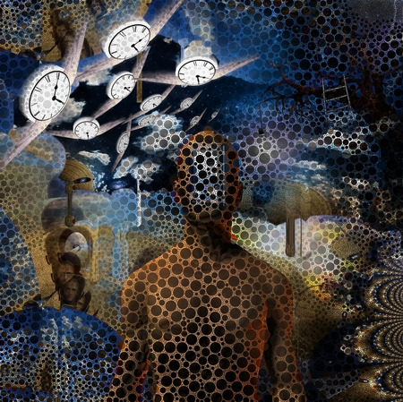 Abstract painting. Naked man with opened door to another world instead of his face. Other dimensions. Winged clocks represents flow of time