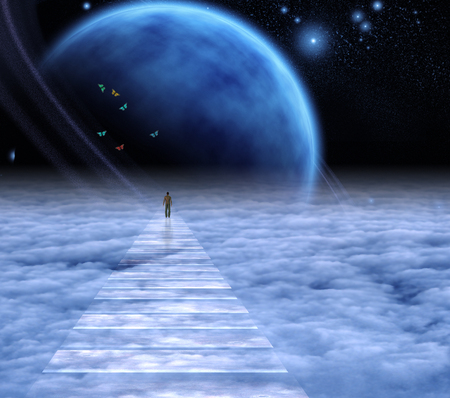 Figura de un hombre en el camino del cielo al cielo. Espacio profundo.