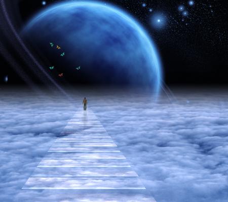 Figuur van een man op de hemelweg naar de hemel. Diepe ruimte.