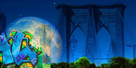 Surreal digital art. Brooklyn bridge. Giant moon in the sky Stock Photo