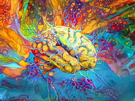Psychedelic Brain in Vivid Colors