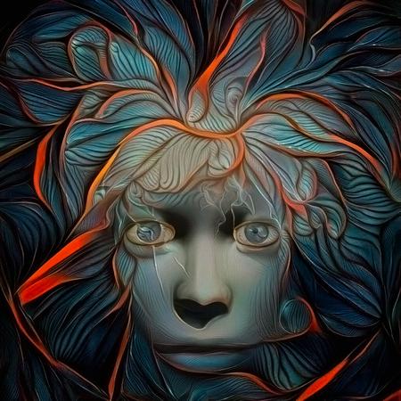 Abstract schilderij. Mystieke vrouw gezicht met bliksem