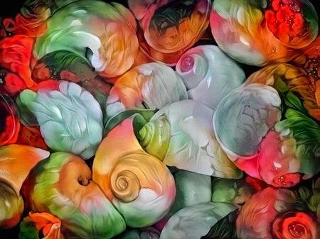Colorful oil painting pattern. Beautiful seashells