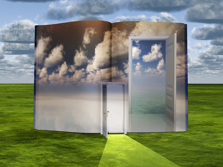 Surrealism. Book with opened door and cloudy sky. Imagens
