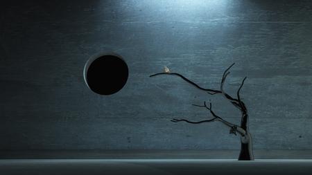 Surrealismus. Vogel auf einem Ast.