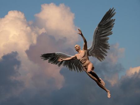 Nackter Mann mit weißen Flügeln im bewölkten Himmel symbolisiert Engel.