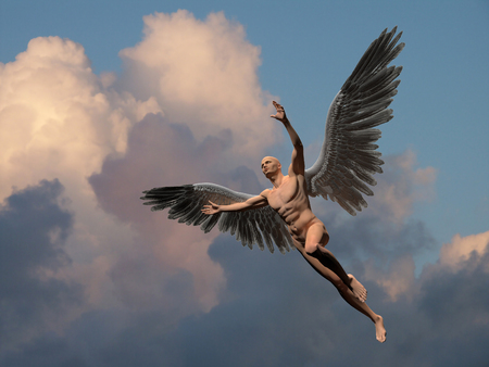 Naked man with white wings in cloudy sky symbolizes angel. Banque d'images - 121417207