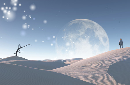 Surreal white desert with dry tree, big moon at the horizon. Man in white suit and bowler stands on a sand dune.