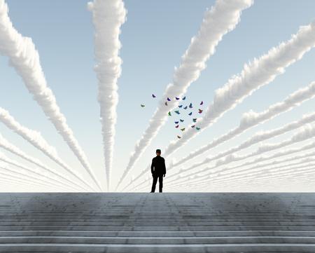 Man in black suit. Linear Clouds