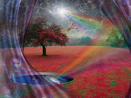Wormhole to another world in a surrealistic landscape. Angels fly in the sky