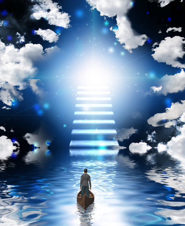 Stairway leads to bright Heaven light. Man floats in a boat.