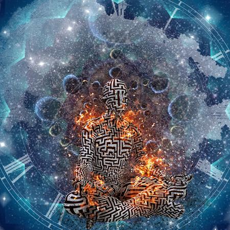 Space Meditation. Burning man in lotus pose