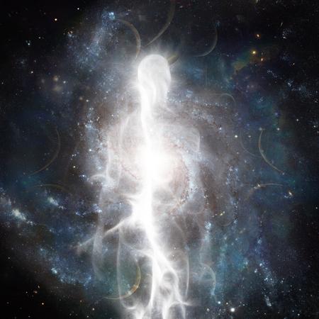 Duch wyłania się z kosmosu. Dusza lub Aura Zdjęcie Seryjne