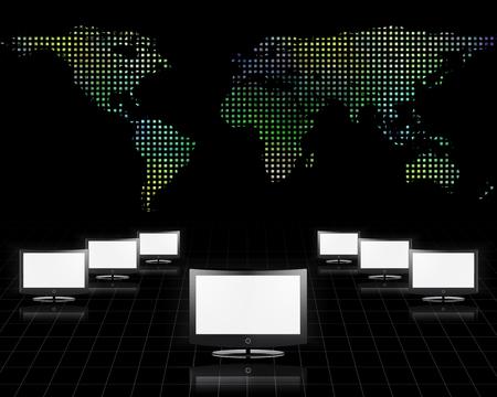 Global Communications. Computer monitors and world map
