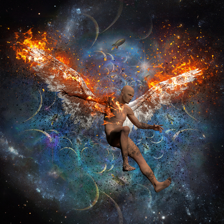 Man with burning wings symbolizes fallen angel. Space and rockets on the background