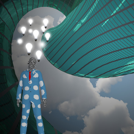 Man in pajamas. Light bulbs represents thoughts and ideas