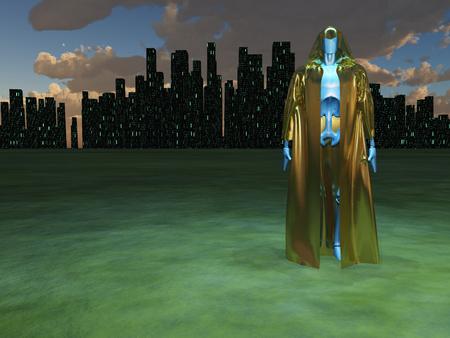 Robot en robe dorée avant la ville futuriste