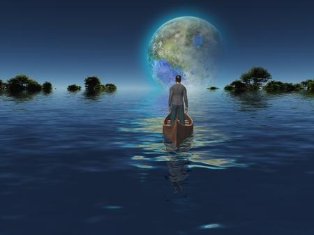 Luna terraformada vista desde la Tierra inundada. Foto de archivo