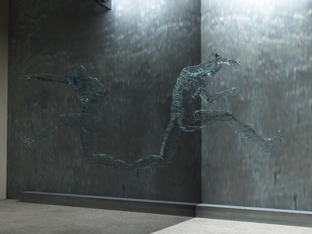 3d render. Figure of man made of water in motion.