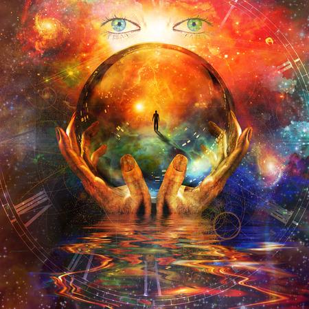 Sfera di cristallo in mano con sfondo spazio vivido