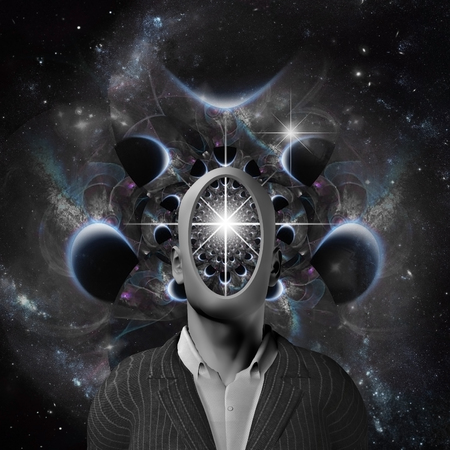 Surreal composition. Space thoughts. Faceless man in cosmic scene
