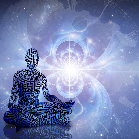 Space Meditation. Man with maze pattern meditate in lotus pose