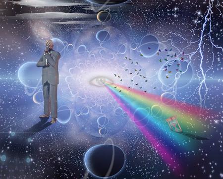 Denker steht im surrealen Raum Standard-Bild