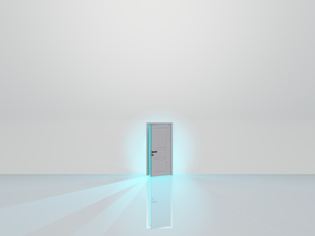 Partly opened door in white space glows with blue light