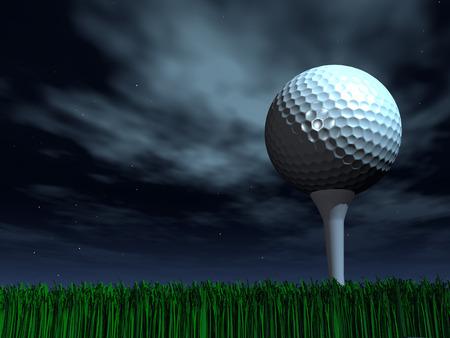 Pelota de golf nocturna sobre un césped