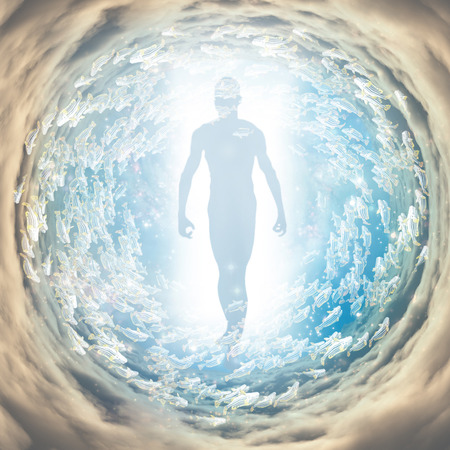 Human figure coming out of light tunnel