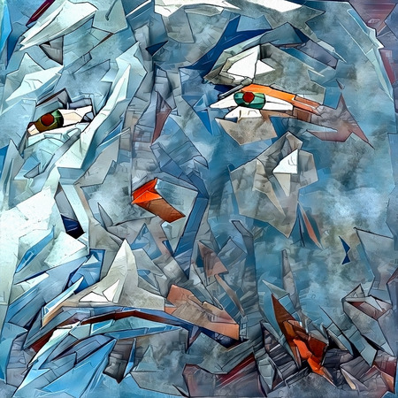 Modern digital abstract painting. Ice man face