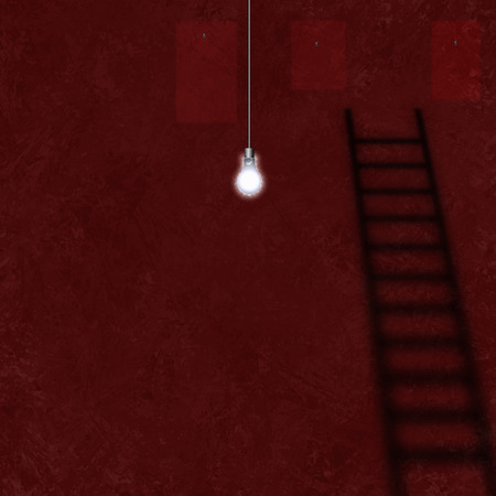 Light bulb in room with red walls. Shadow of ladder