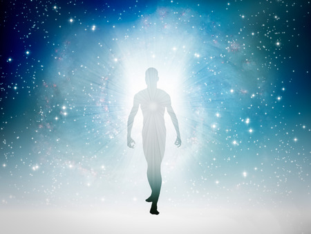 Menschliche Figur taucht aus dem Raum auf