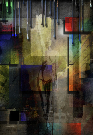 Modern art. City abstract with nude Banque d'images - 122006321