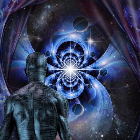 Sci - fi art. Cyborg before endless spaces Stok Fotoğraf