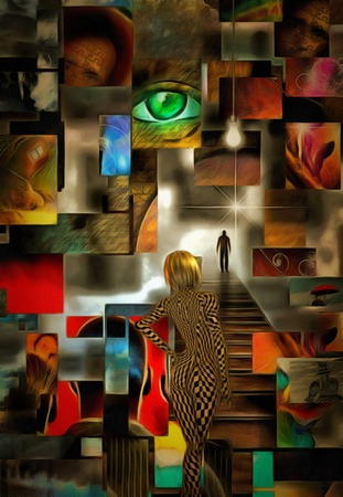 Complex surreal painting. Green eye, light bulb. Blonde girl with checkered pattern on her body. Lonely man on a road to bright light. 3D rendering