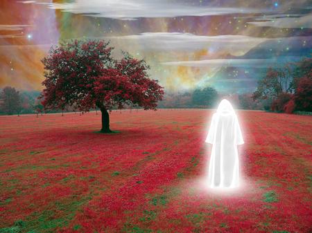 Weißer Mönch in surrealer Landschaft