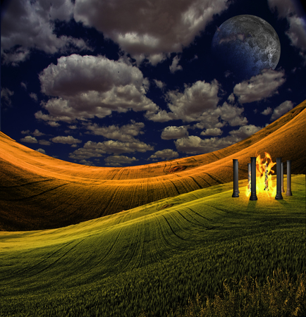 Temple Contains Bonfire in Serene Landscape. Giant moon in the sky
