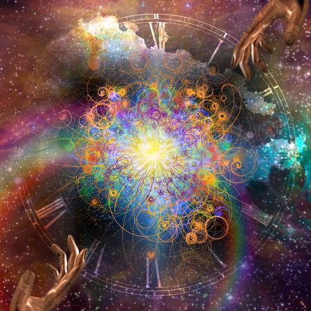 Oerknal. Creatie van tijd en materie. Met sterren gevulde ruimte met gebarende handen Stockfoto