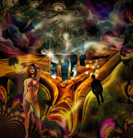 Complex surreal painting. Thoughts and temptations. Man with light bulbs around his head stands in the field. Eye of God. Winged clocks represents flow of time Фото со стока