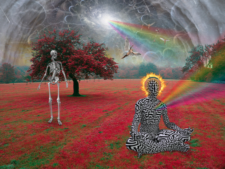 Skeleton and enlightened man in surreal landscape. Angels fly in the sky