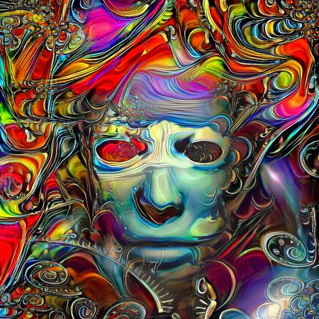 Abstract painting. Mystic womans mask Stock Photo