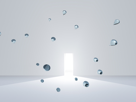 Surreal scene. Open door in white room with hovering drops of pure water Stockfoto