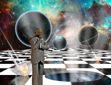 Planetary Armageddon. Massive meteorite - asteroid shower destroy planets. Thinking businessman on chessboard. Wormhole to another dimension. 3D rendering