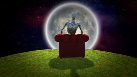 Surreal composition. Rusted alien sits in red armchair and observer bright moon. 3D rendering