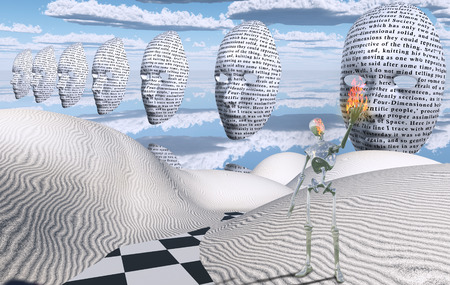 Surreal white desert. Masks floats in the sky. Alien holds flame in his hand.